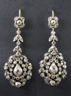 Antique Jewelry A pair of antique silver, gold and diamond earrings, probably Italian, late century. Diamond Jewelry, Gemstone Jewelry, Gold Jewelry, Fine Jewelry, Ruby Jewelry, Diamond Stud, Jewelry Stand, Jewelry Holder, Crystal Jewelry