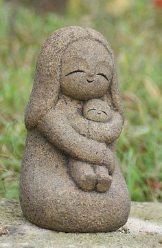 Jizo bosatsu. Stone-Jizo-Mother-and-child-Handmade-stone-carving-production-sale-japan20
