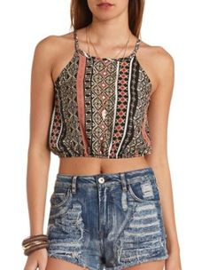 tribal print print strappy halter crop top...I wanna bawl my eyes out this top is so beautiful...