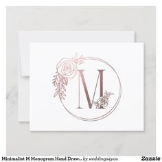 Minimalist M Monogram Hand Drawn Rose Foil Thank You Card M Monogram, Monogram Gifts, Drawn Rose, Custom Thank You Cards, Personal Photo, Zazzle Invitations, Your Cards, Hand Drawn, Create Your Own