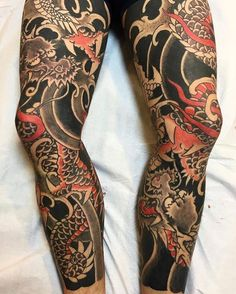 Japanese leg sleeve tattoos by @horihana. #japaneseink #japanesetattoo #irezumi #tebori #colortattoo #colorfultattoo #cooltattoo #largetattoo #legtattoo #tattoosleeve #dragontattoo #blackwork #blackink #blacktattoo #wavetattoo #naturetattoo