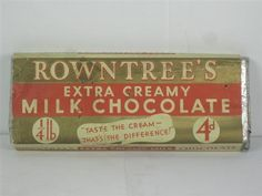 Old Shop Stuff | Rowntrees-Extra-Creamy Chocolate-Bar/Antique candy/packaging