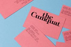 "The Australian Studio Hi Ho designed the branding and magazine ""The Cumquat"". A space created by Jordan Heng and Patrick Honan to talk about creative projects related to sexuality, smut… Stationery Design, Corporate Design, Graphic Design Typography, Business Card Design, Business Card Maker, Unique Business Cards, Vintage Business Cards, Print Design, Logo Design"