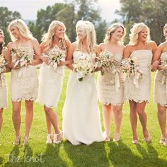 Lace Bridesmaid Dresses - Love it! I don't like bold bridesmaid dress colors, but white and ivory are too blah. But this would be perfect! Unfortunately, they are really hard to find :(