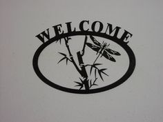 Dragonfly Welcome sign   Metal art by steelmyart on Etsy