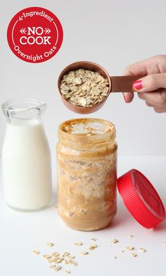 Easy 4-ingredient, no-cook overnight oatmeal recipe: take an almost-finished jar of peanut butter, fill it halfway with Quaker® oats and low-fat milk, plus a spoonful of brown sugar. Then, let this mixture chill in the fridge overnight. The next morning give the jar a good stir and dig in! Overnight oats are the perfect quick, tasty breakfast for a mom on-the-go.