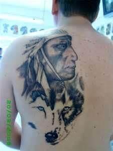 Grey Wash Indian Wolf Back Piece Portrait Tattoo
