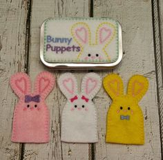 Pocket bunny finger puppets tin play set by DesignsByRAJA on Etsy