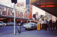 Las Vegas Club, 1958. Photo taken under the Golden Gate marquee, showing Buckley's, Cecil Lynch's Fortune Club, Silver Palace.