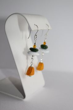 Green Bay Packers Beach Rock Earrings by JoyfulEcoDesigns on Etsy
