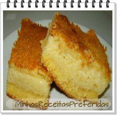 Bolo Cremoso de Fubá    - 2 xícaras (chá) de leite  - 1 lata de leite condensado  - 3 ovos  - 1 e ½ xícaras (chá) de açúcar  - 1 xícara (chá) de fubá pré-cozido  - 3 colheres (sopa) de farinha de trigo  - 2 colheres (sopa) de manteiga (30 g)  - 1 colher (sopa) de fermento em pó  - 1 xícara (chá) de queijo minas meia cura ralado  - 1 pitada de sal  Num liquidificador, coloque todos os ingredientes e bata bem até formar uma mistura homogênea. Acrescente o fermento em pó, por último. Forno…