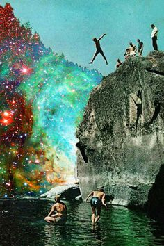 Cliff, Jumping, Psychadelic
