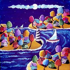 Sailboats Houses Trees Lighthouse Whimsical Colorful Canvas Folk Art Original Painting