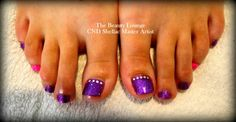 CND Shellac toes in Electric Purple glitter and Hot Pink pigment with Swarovski Crystals.  #cndshellac #nailart #salcombe