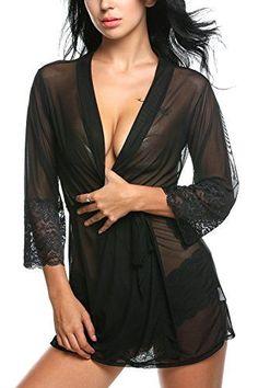 a1f4dcb482 Amazon.com  Avidlove Women Lace Lingerie Awaken Desires Kimono Sleepwear  With Cheeky Panty  Clothing