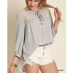 """""""Notorious"""" Crochet Collar Lace Up Top Crochet front lace up top. Only available in this color. Brand new. True to size but a loose fit. NO TRADES DON'T ASK. Bare Anthology Tops Blouses"""