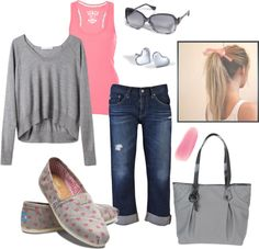 """Pink and Gray Valentine Toms"" by pamnken on Polyvore"