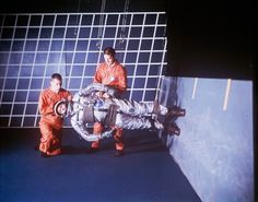 A test engineer prepares to stride forward as a man would in the low gravity of the lunar surface at NASA& Langley Research Center in Virginia.Photograph by NASA Nasa Langley, Low Gravity, Nasa Engineer, Project Mercury, Retro Robot, Nasa Astronauts, Research Centre, Star Citizen, Training Center
