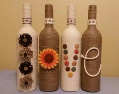 Hand made, twine wrapped bottles. Great for home decor