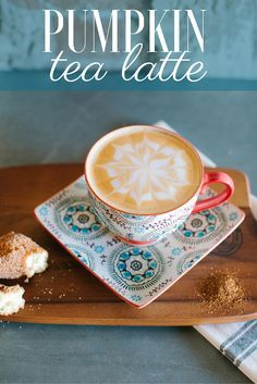 Pumpkin tea latte with white chocolate and cinnamon. It's the perfect fall comfort recipe.