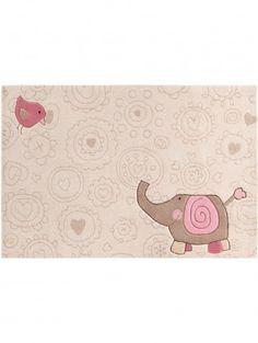 Kinderteppich Happy Zoo Elephant Beige