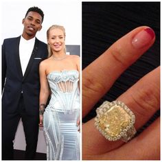 Los Angeles Lakers' Nicky Young proposed to rapper Iggy Azalea with this $500K engagement ring on June 1, 2015.