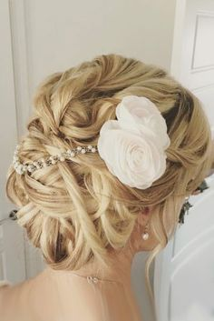 wedding hairstyles with flowers updo with white single bloom bridalhairbyemma