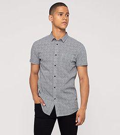Kurzärmliges Hemd in der Farbe schwarz / weiß bei C&A