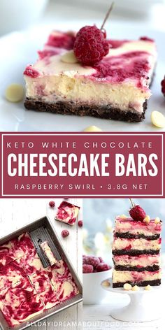 These creamy keto cheesecake bars with white chocolate and raspberries are a truly special sugar-free dessert. Sugar Free Cheesecake, Low Carb Cheesecake, Sugar Free Desserts, Cheesecake Recipes, Dessert Recipes, Ketogenic Desserts, Keto Friendly Desserts, Keto Snacks, Ketogenic Diet