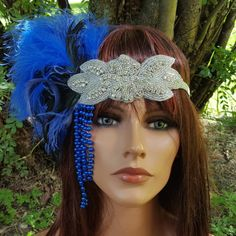 Great Gatsby style feather headpiece in royal blue and silver! #gatsby #costume kathyjohnson3.etsy.com