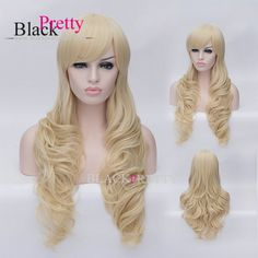 Party Hair Cosplay Blonde Curly Hair Long Curly Synthetic Hair Blonde Wavy Cosplay Wig With Bangs Blonde Party Wig,High Quality cosplay white wig,China cosplay hat Suppliers, Cheap cosplay ear from Black Pretty Hair