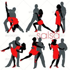 Salsa Dancers Set — JPG Image #sensual #movement • Available here → https://graphicriver.net/item/salsa-dancers-set/515458?ref=pxcr