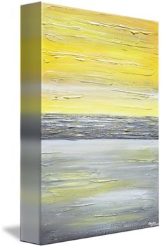 """""""Coastal Charm"""" Large Giclee PRINT, CANVAS PRINT of original yellow grey abstract painting coastal wall art beach decor modern prints home decor sculpted textured paint effect vertical horizontal gold grey white wall decor. Original SOLD painting original piece of art created by internationally collected artist, Christine Krainock, Mixed media acrylic on gallery wrapped canvas . Can be hung vertically or horizontally. Select your size. Makes a great gift! Your Limited Edition Print will last…"""
