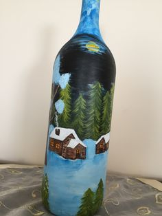 Painted Bottles, Lighted Wine Bottles, Bottle Painting, Decoupage, Paper, Home Decor, Handmade Crafts, Flower, Glass Canisters