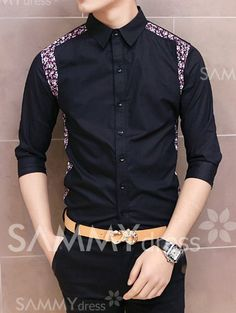 men suits - Stylish Shirt Collar Slimming Floral Print Splicing ThreeQuarter Sleeve Men's Polyester Shirt, BLACK, M in Shirts DressLily com Stylish Shirts, Stylish Boys, Casual Shirts, Boys Winter Shirts, Shirt Collar Styles, Collar Shirts, Mens Designer Shirts, Dress Sketches, Mens Clothing Styles