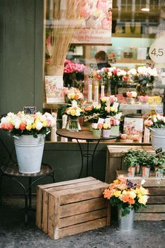 Au Nom de la Rose | translation, In the Name of the Rose, a storefront flowershop in Paris
