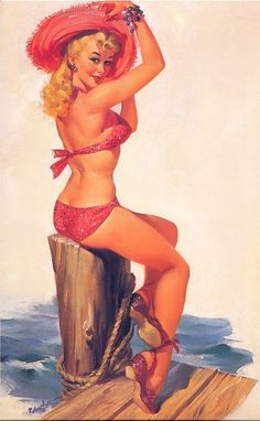 """JOYCE BALLANTYNE (1918 - 2006) was a noteworthy member of the """"girl's club"""" among pin-up artists - her women were often more natural than the studiously coy poses of her male counterparts."""