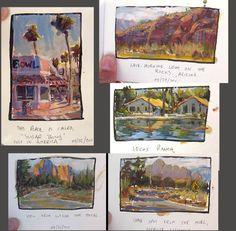 From Arizona! Watercolor & Gouache in small moleskine book. More Travel Sketches Travel Sketchbook, Watercolor Sketchbook, Artist Sketchbook, Watercolor Art, Fashion Sketchbook, Kunstjournal Inspiration, Sketchbook Inspiration, Art Diary, Travel Drawing