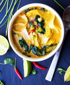 This creamy, fragrant, DELICIOUS Thai coconut curry chicken soup has spinach and rice noodles and everything you want for dinner, all in one pot!