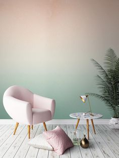 two-color-wall design-ombre-wall color wallpaper walls-creative-make - Do it yourself decoration Murs Pastel, Deco Pastel, Pastel Decor, Ombre Wallpapers, Wall Design, House Design, Design Design, Home And Deco, Paint Designs