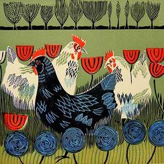 Cathy King, Hens, Linocut, 2013 27.5cm x 27.5cm Printed on Zerkall Paper