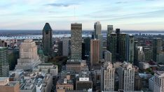 Ad: Montreal, Quebec, Canada, aerial panoramic view of Downtown buildings at dusk in Autumn season. Moving To Canada, Forest Road, Montreal Quebec, Autumn Forest, City Streets, Nature Scenes, Aerial View, Hd Video, Stock Video