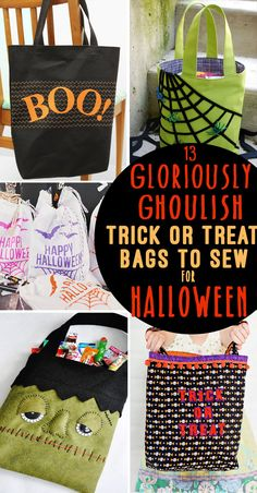 "Need a new Halloween Trick or Treat Bag? Here are 13 DIY Trick or Treat Bag ideas & tutorials perfect for DIY-ing a new Halloween bag for your ""little monsters. Halloween Taschen, Fabric Basket Tutorial, Halloween Bags, Halloween Crafts, Halloween Sewing, Diy Halloween Trick Or Treat Bags, Halloween Quilts, Halloween Stuff, Holidays Halloween"
