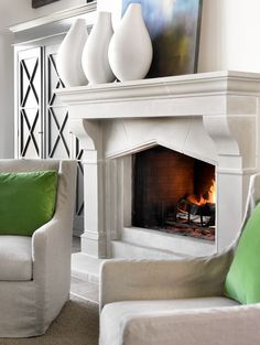 The best thing about winter? Sitting in front of a roaring fire. These 21 amazing fireplace design ideas will make you feel downright cozy! White Stone Fireplaces, Stone Fireplace Mantel, Fireplace Design, Limestone Fireplace, Fireplace Ideas, Home Living Room, Living Spaces, Standing Fireplace, Interior Decorating