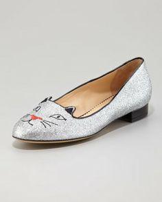 Charlotte Olympia Kitty Glitter Flat Slipper, Silver