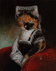 Cat Painting - Lady Pischi by Melinda Copper Fancy Cats, Cute Cats, Animal Dress Up, Cat Applique, Bizarre Art, Cat People, Sculpture, Beautiful Paintings, Cat Art