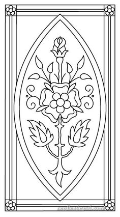 "Mission Rose as I'm doing it is not an ecclesiastical piece – it's simply decorative embroidery, and for now, my ""finished vision"" of it involves framing and hanging. I think if the design were a little wider, it would make a nice book cover or something like that. It would also make a great insert for a box top, for a long box that opens on the short end. But for me, I want to frame this one."