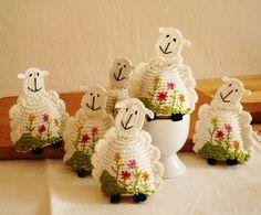 Precious! #Crochet Sheep Egg Cozy Egg warmers Set of 2 by @Monika Mrozkova  $16.00