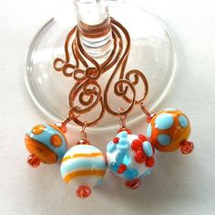 Wine Glass Charms Turquoise and Orange Lampwork by TwistedTinkers, $25.00