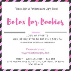Don't Forget about our Breast Cancer Awareness Event this Friday! There will be Botox drawings, light bites, and all profits made from Botox will be donated to The Pink Agenda!! Don't need Botox, but want to donate anyway? Click the link!